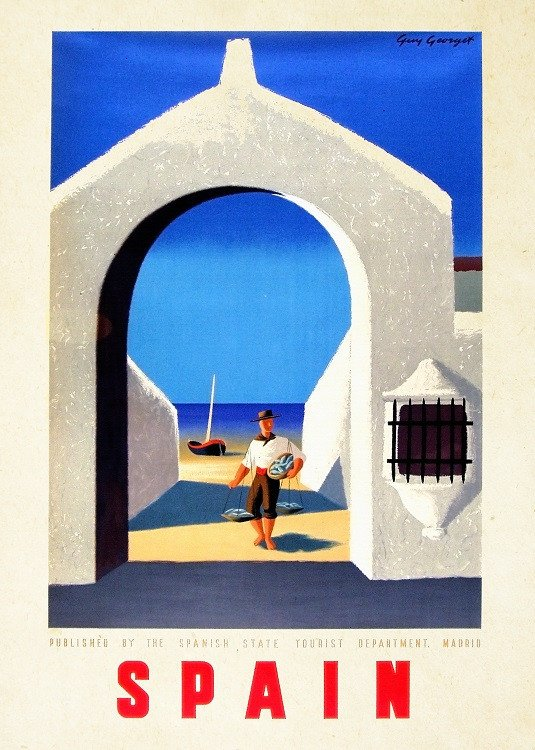 vintage travel poster on metal