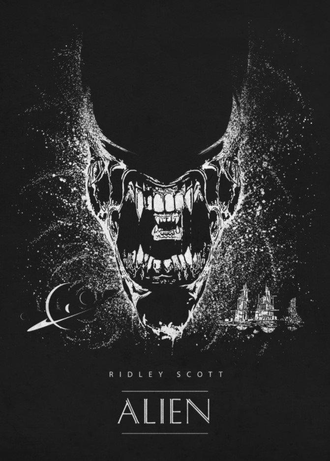 alien en face poster by retina creative
