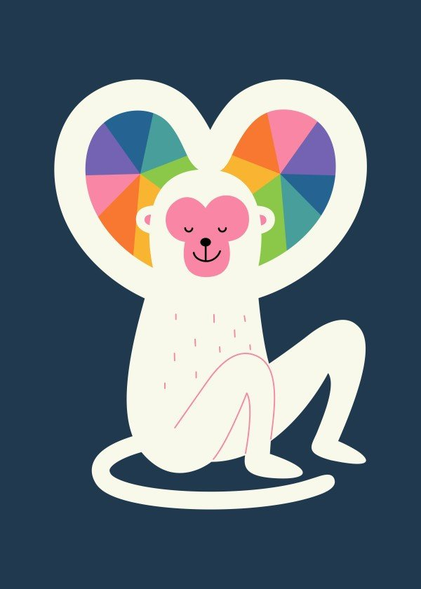 love-art-for-valentines-day-colorful-monkey-illustration