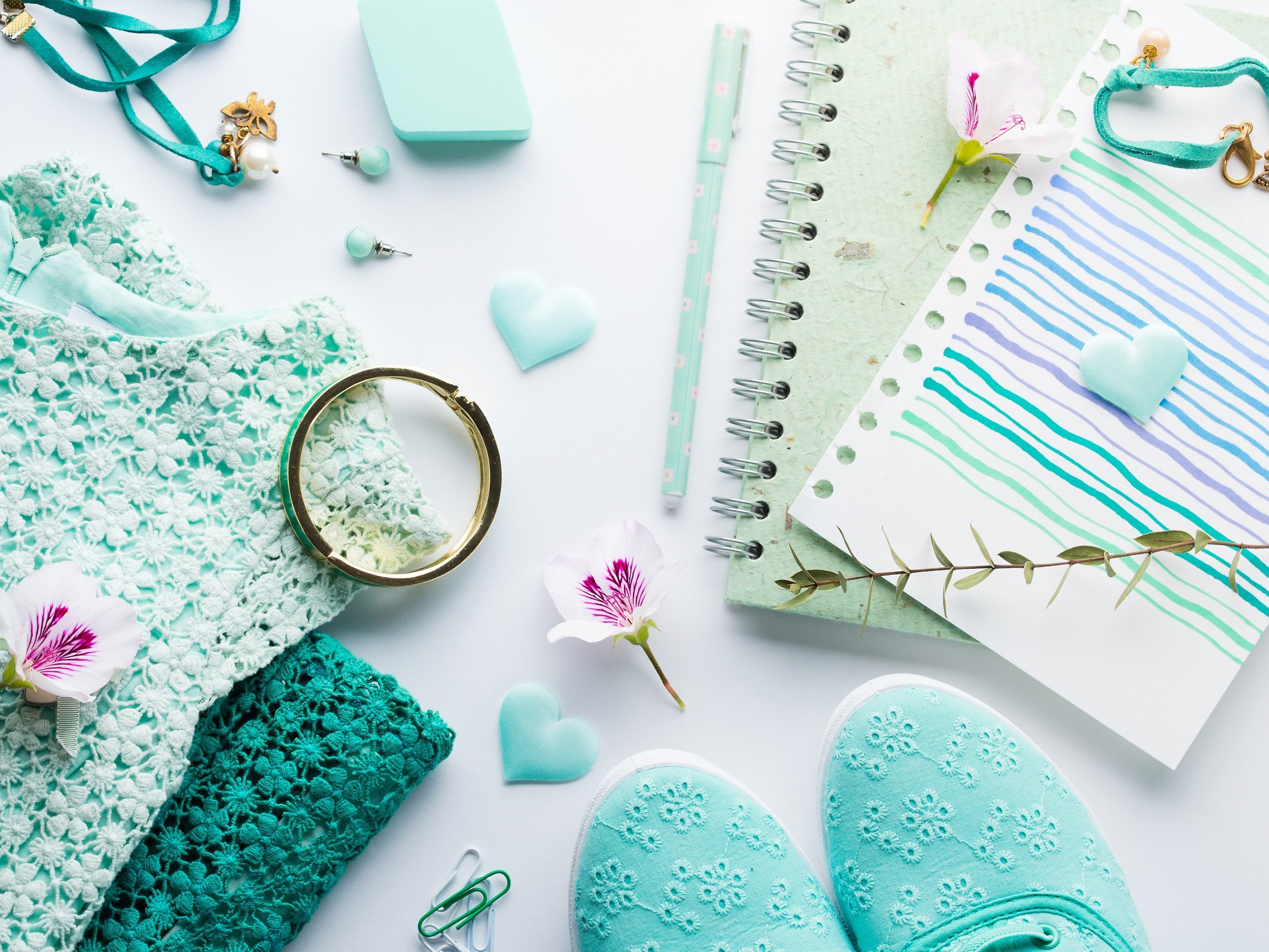 photo journal notebook mint color flatlay