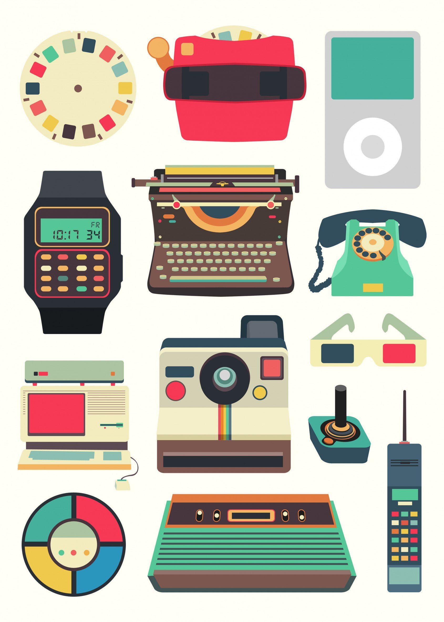 retro objects poster