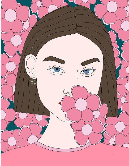 lady with flowers portrait