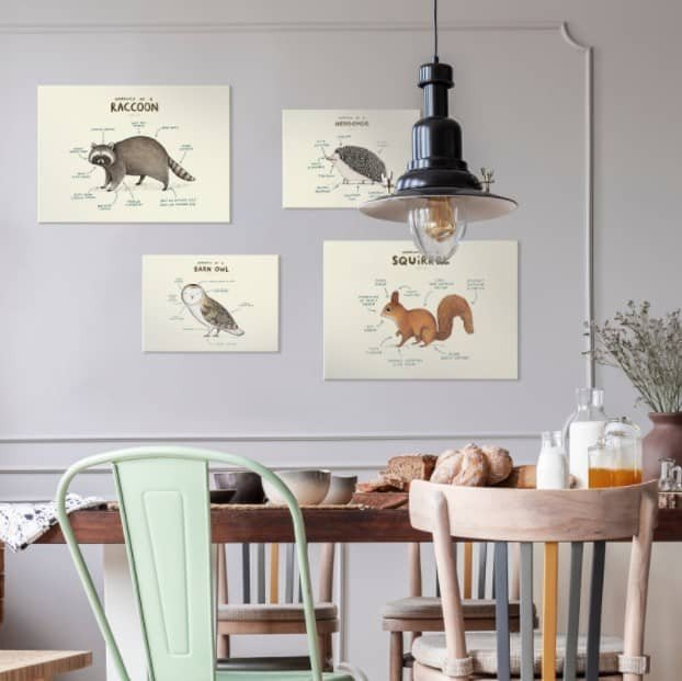 animal themed arrangement in a kitchen over a table