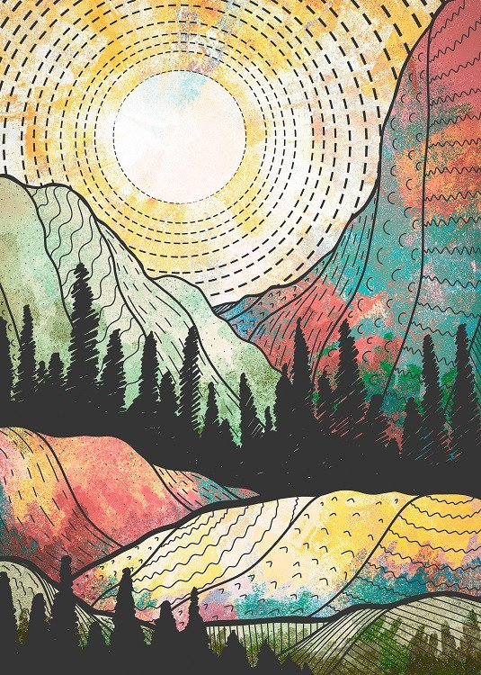 rocky mountains colorful poster