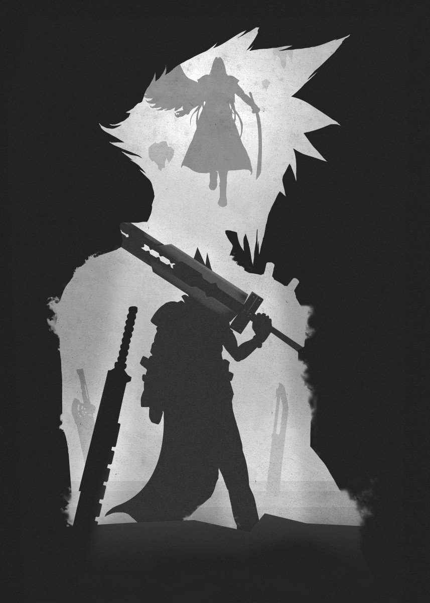 cloud and sephiroth standing in front of each other