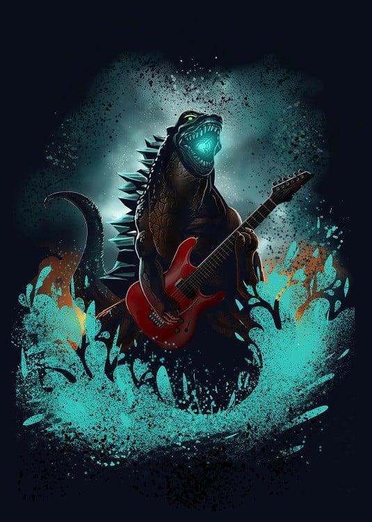 godzilla with guitar