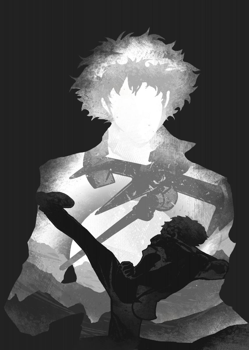 cowboy bebop anime monochrome poster