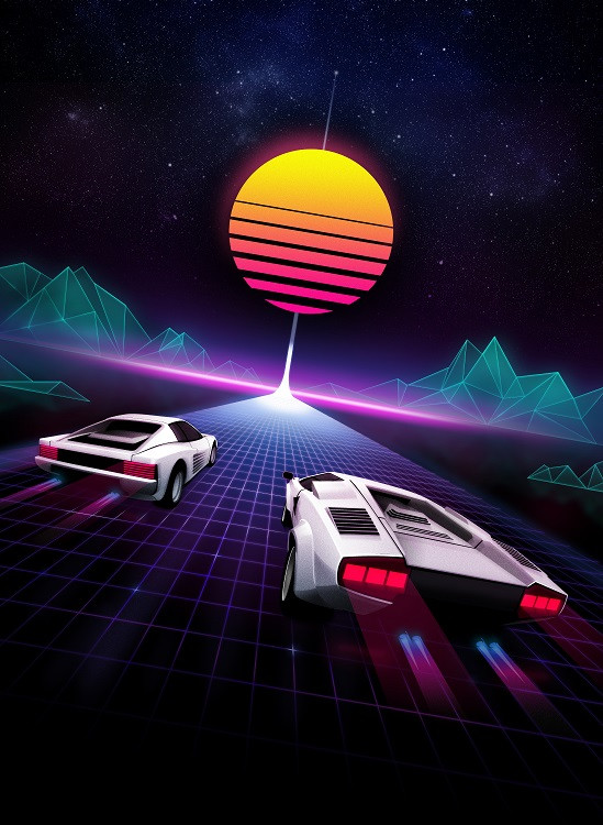 80's style cars illustration