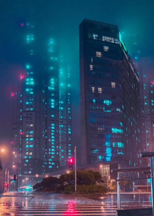 cyberpunk city poster