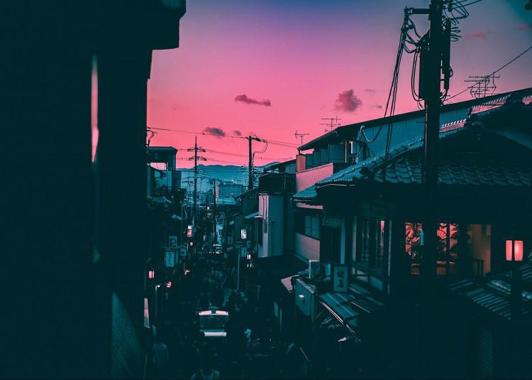 cyberpunk sunset poster