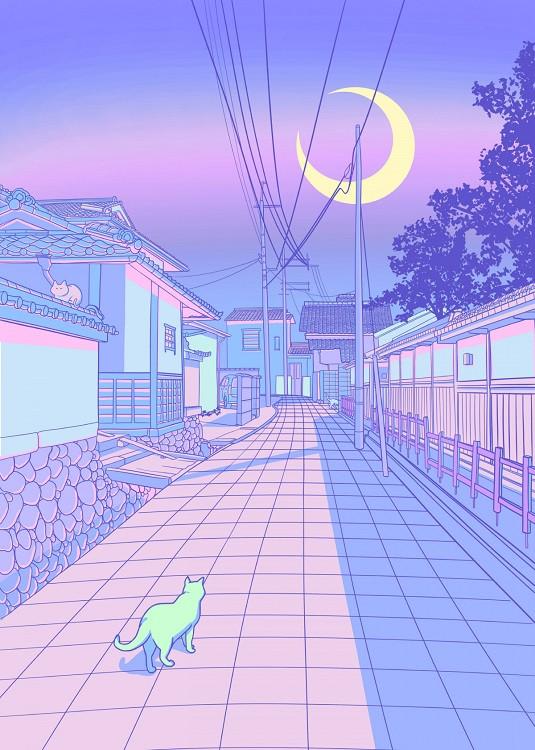cyberpunk city pastel poster