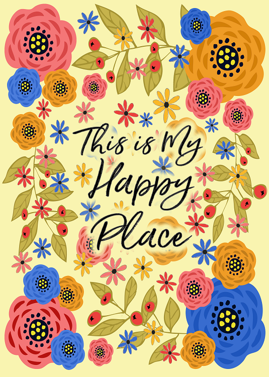 happy place typography design