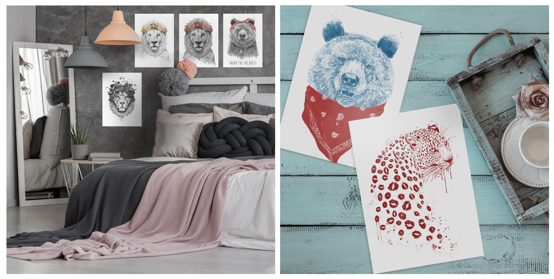 animal illustrations printed on metal home decor gift idea for women