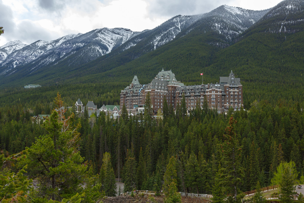Banff Springs Hotel in the mountains