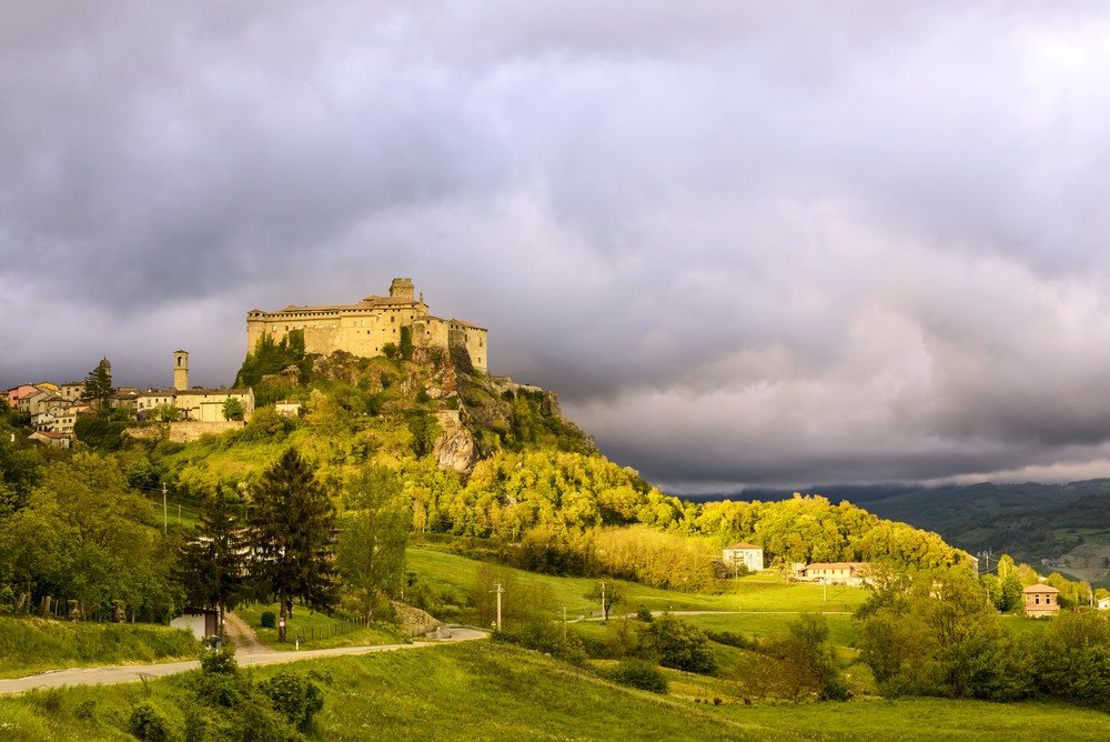 Castle of Bardi in a cloudy day