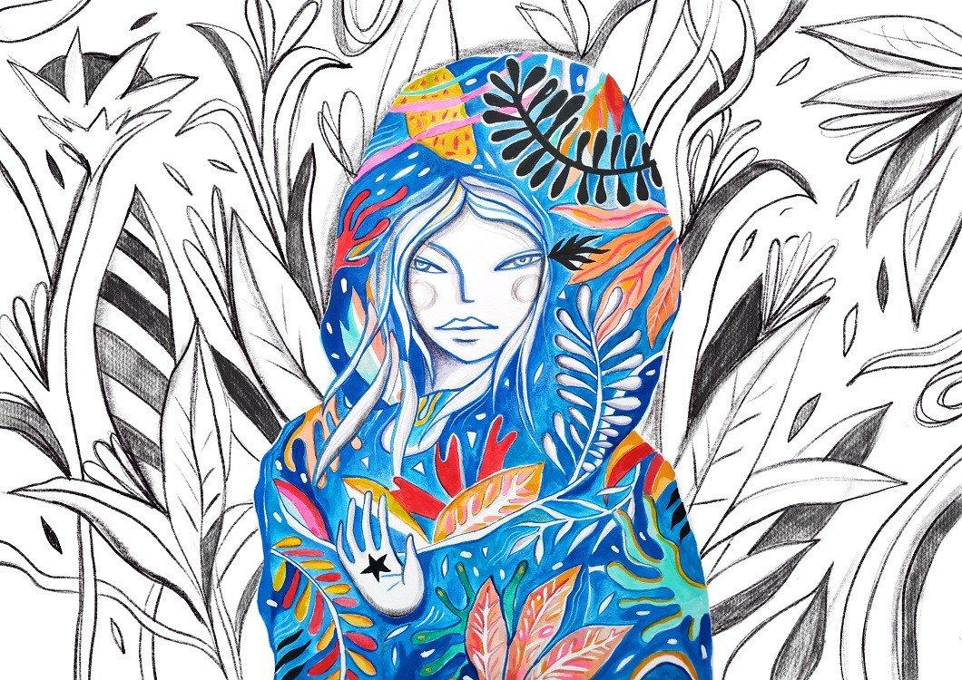 folk girl illustration