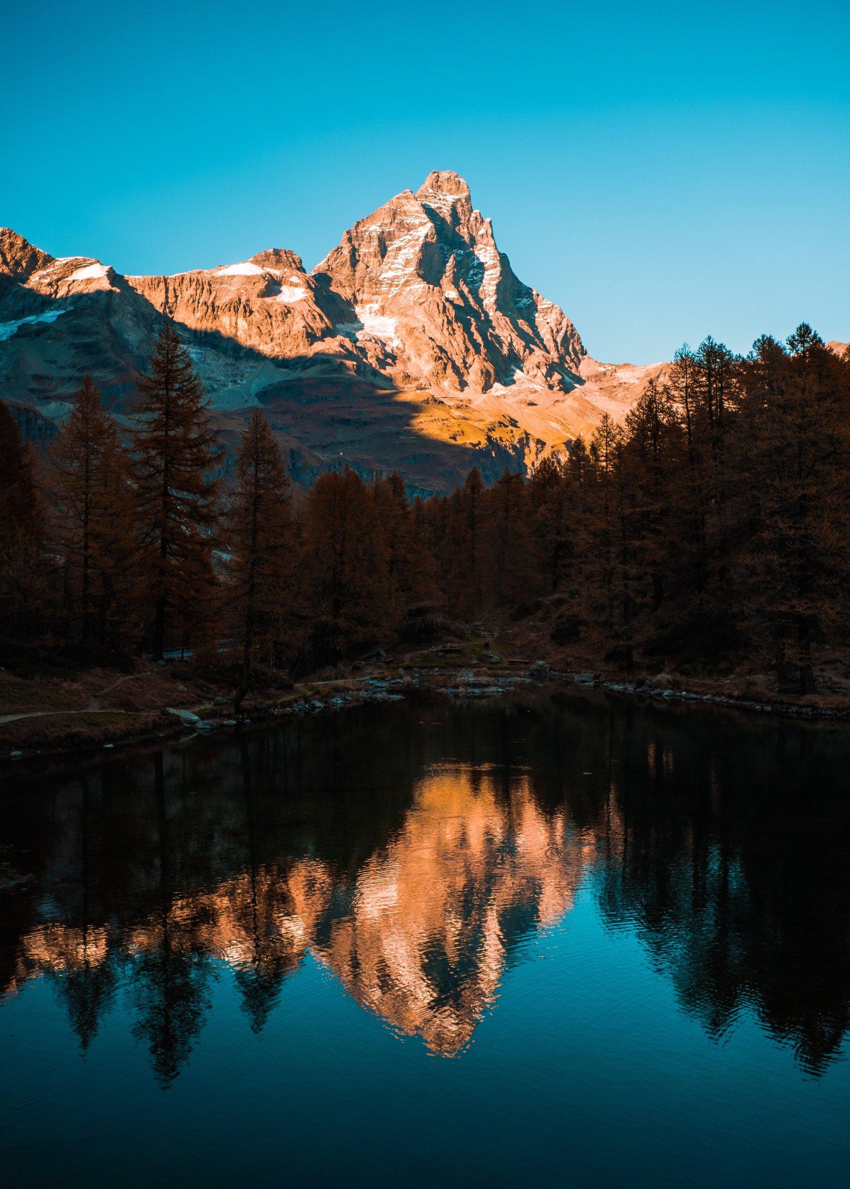 lake midday mountain