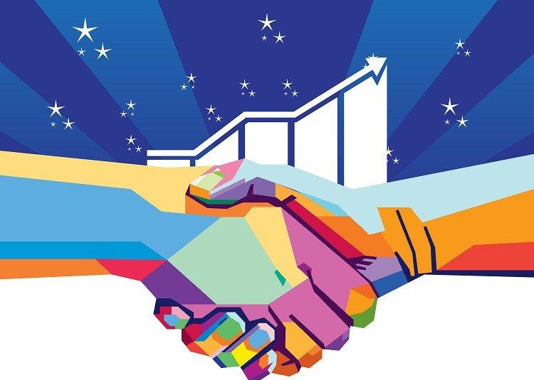 handshake colorful
