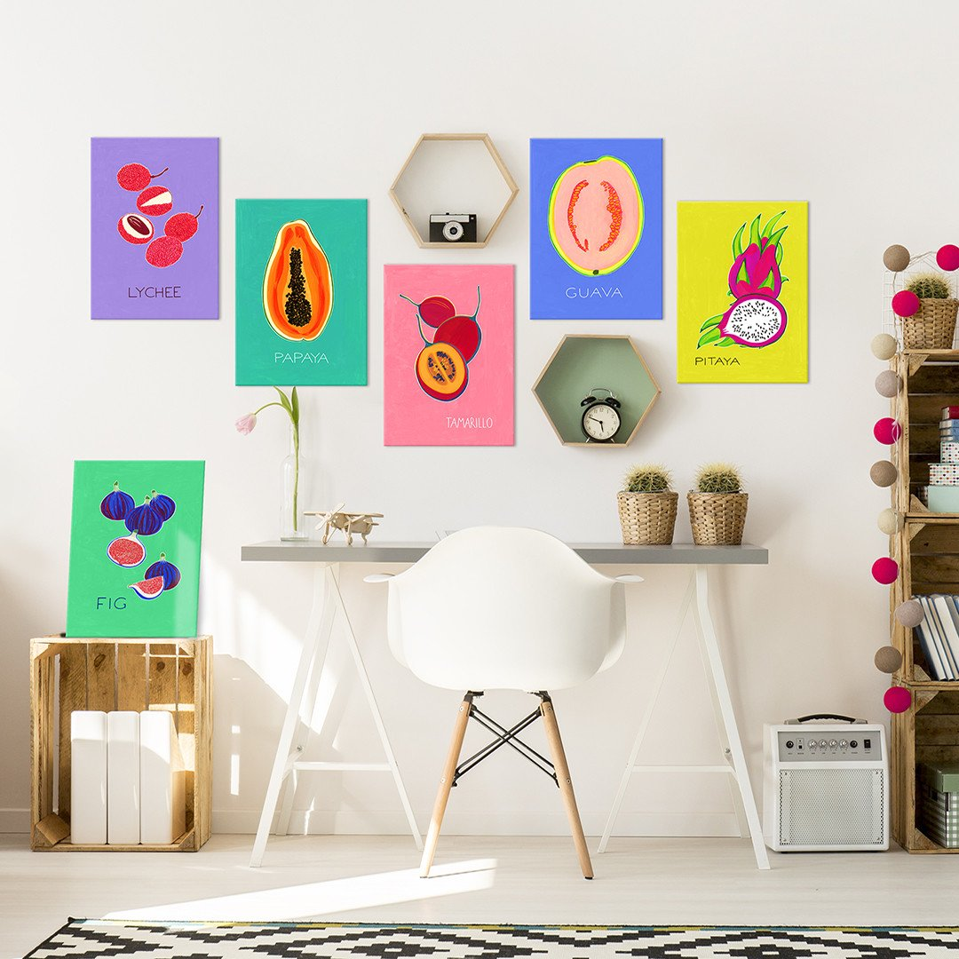 exotic fruit posters on metal for food lovers