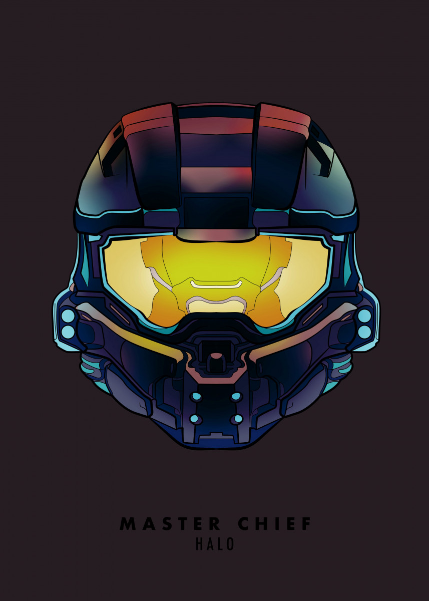 master chief from halo helmet poster