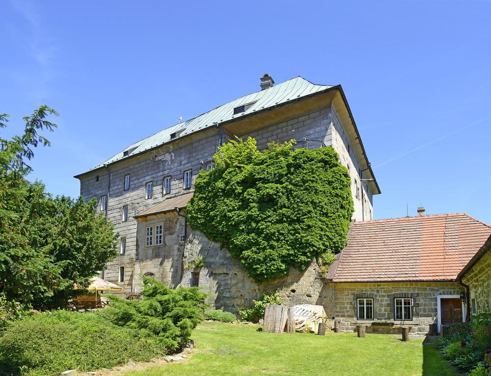 Houska Castle view of the backyard