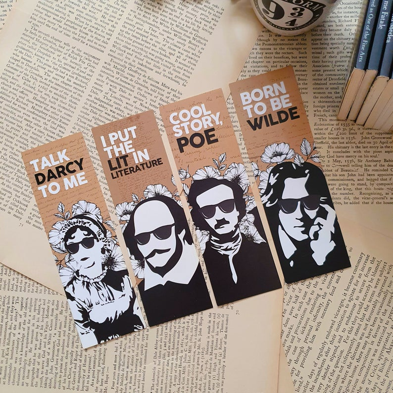 Punny bookmarks featuring Austen, Shakespeare, Poe and Wilde