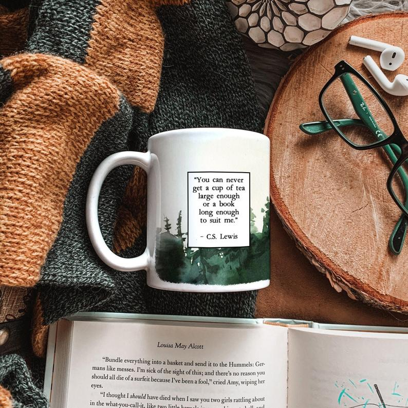 White mug featuring a quote by C.S. Lewis