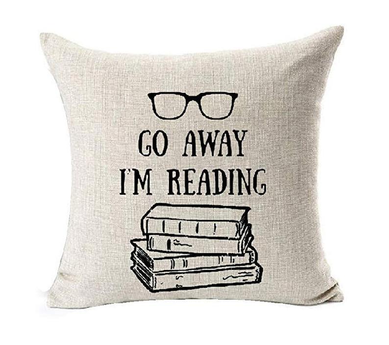 White literary pillow