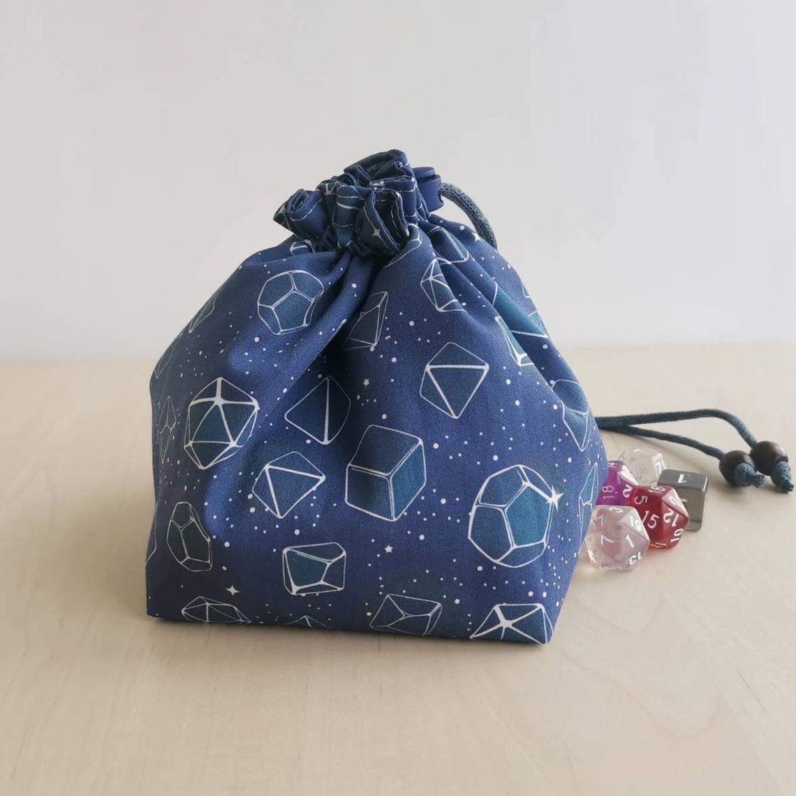 Blue cotton dice bag