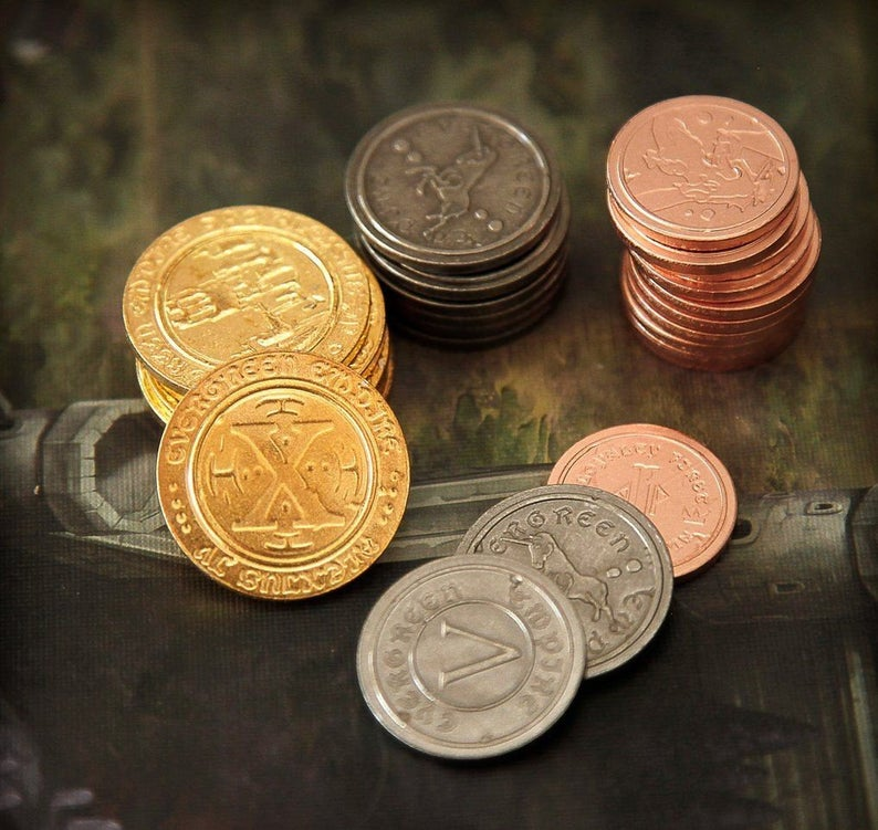 Metal coin board game set