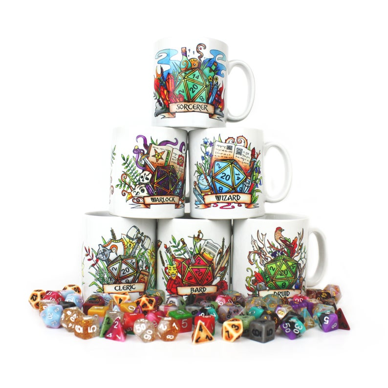 Dungeons and Dragons D20 Class themed mugs