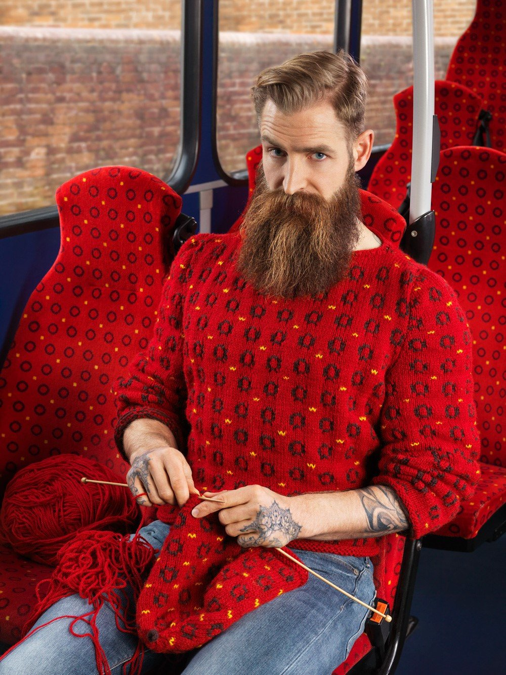 knitted camouflage red