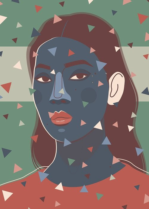 woman portrait with triangles