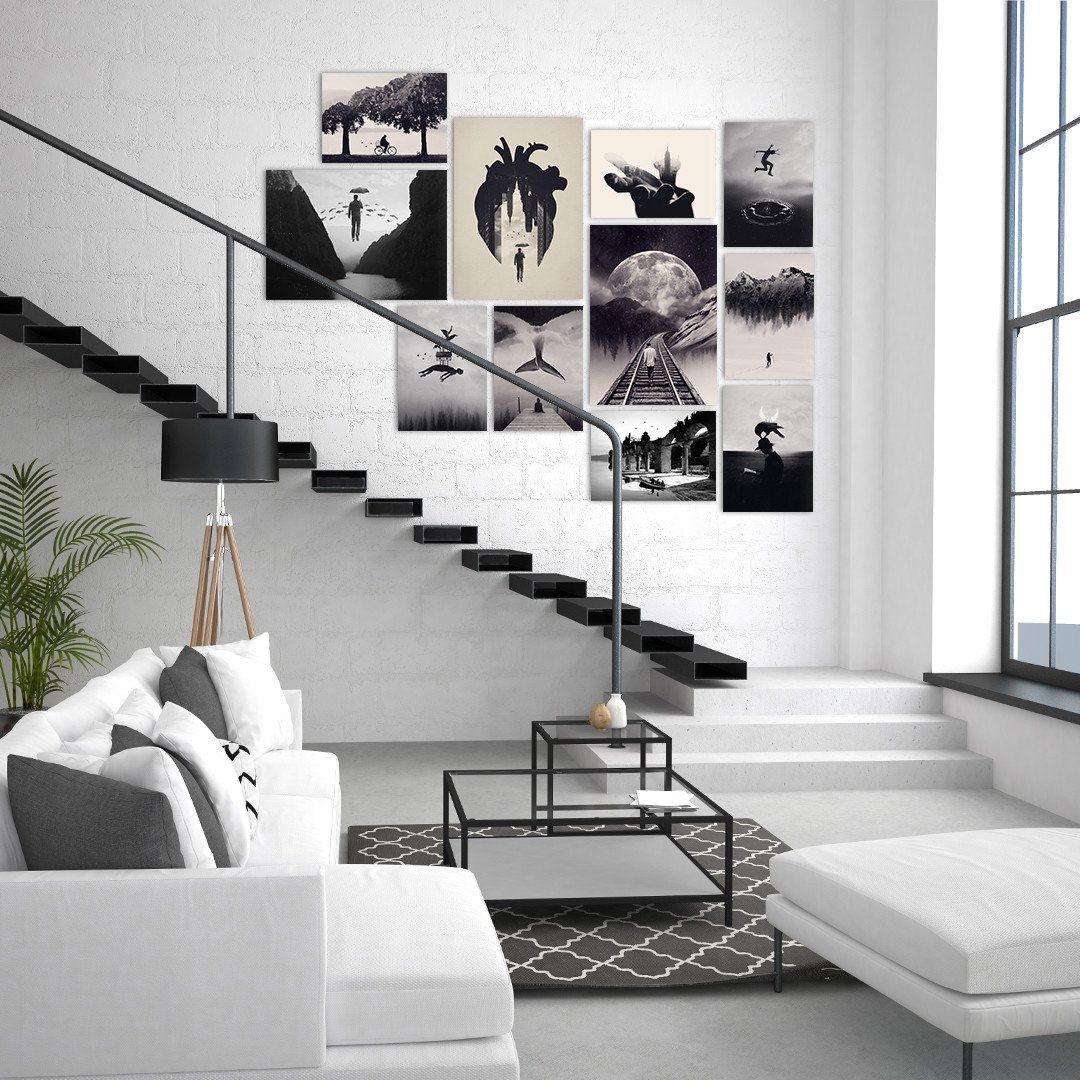 minimalistic black and white scandinavian interior with metal posters