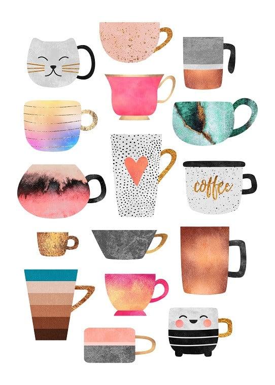 coffee mugs illustration