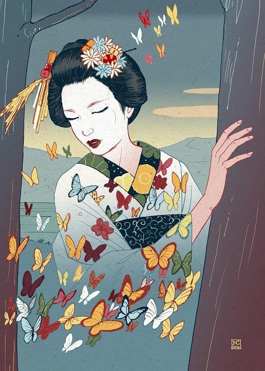nicolas castell illustration geisha
