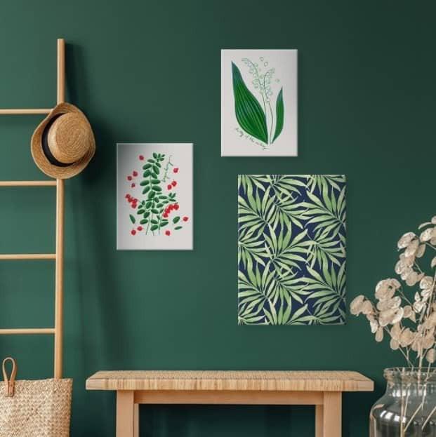 On a blank wall art arrangement