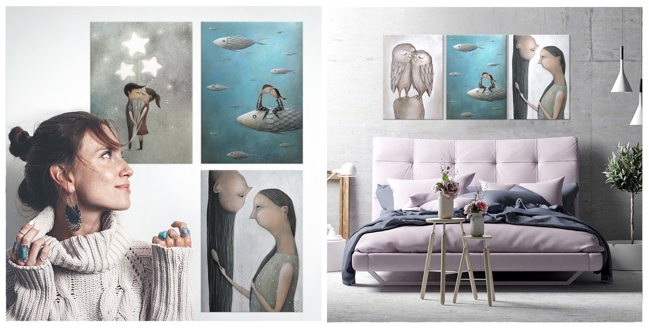 romantic artworks printed on metal posters gift ideas for girls