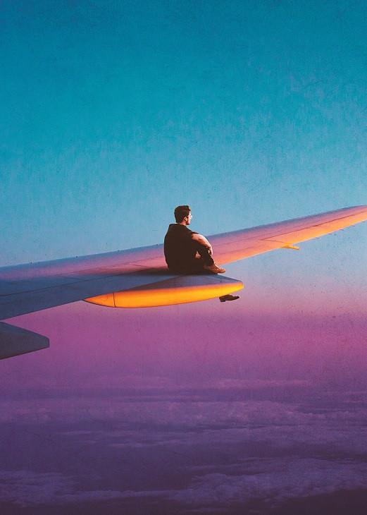 seam less man on a plane