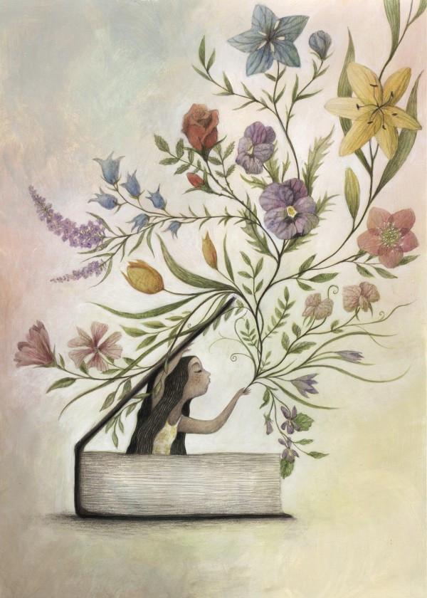 spring-design-flowers-book-girl-floral-art