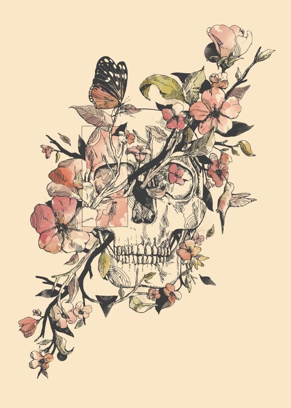 spring-design-skull-flowers-floral-art