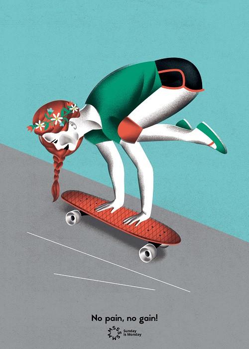 girl on a skateboard illustration