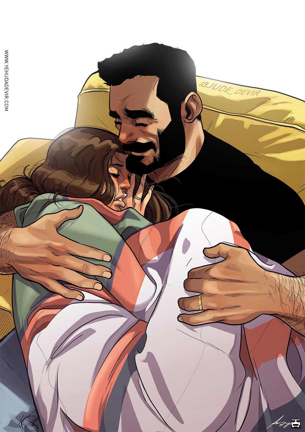 yehuda devir hugging