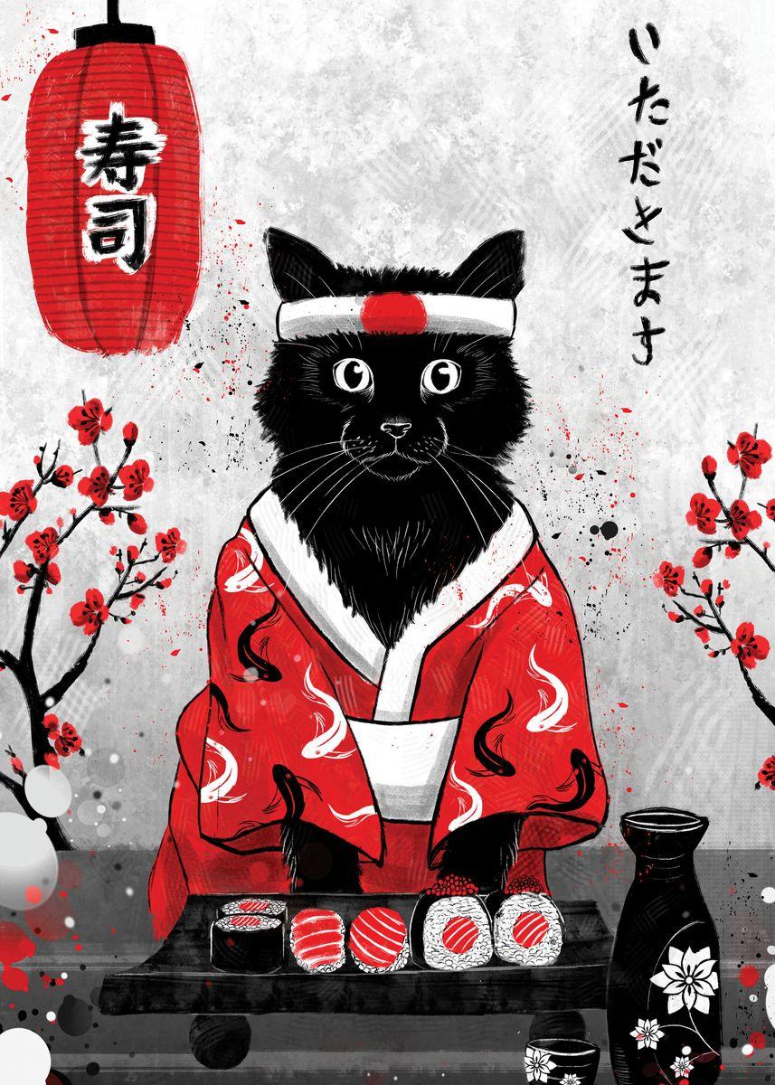 Black cat wearing white sushi chef headband and red robe