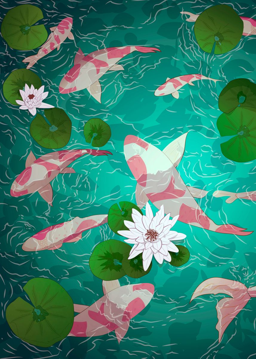 White and pink koi fish amidst water lilies