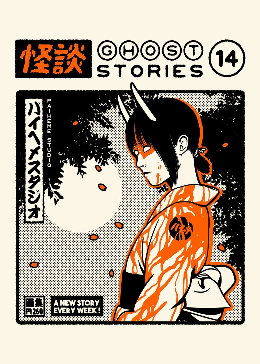 Horned girl demon in white and orange kimono