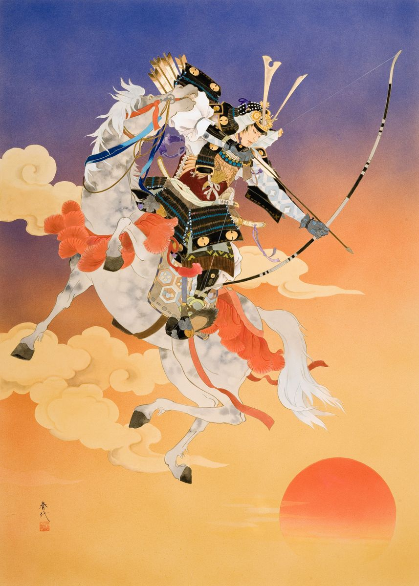 Japanese archer in armor on white horse