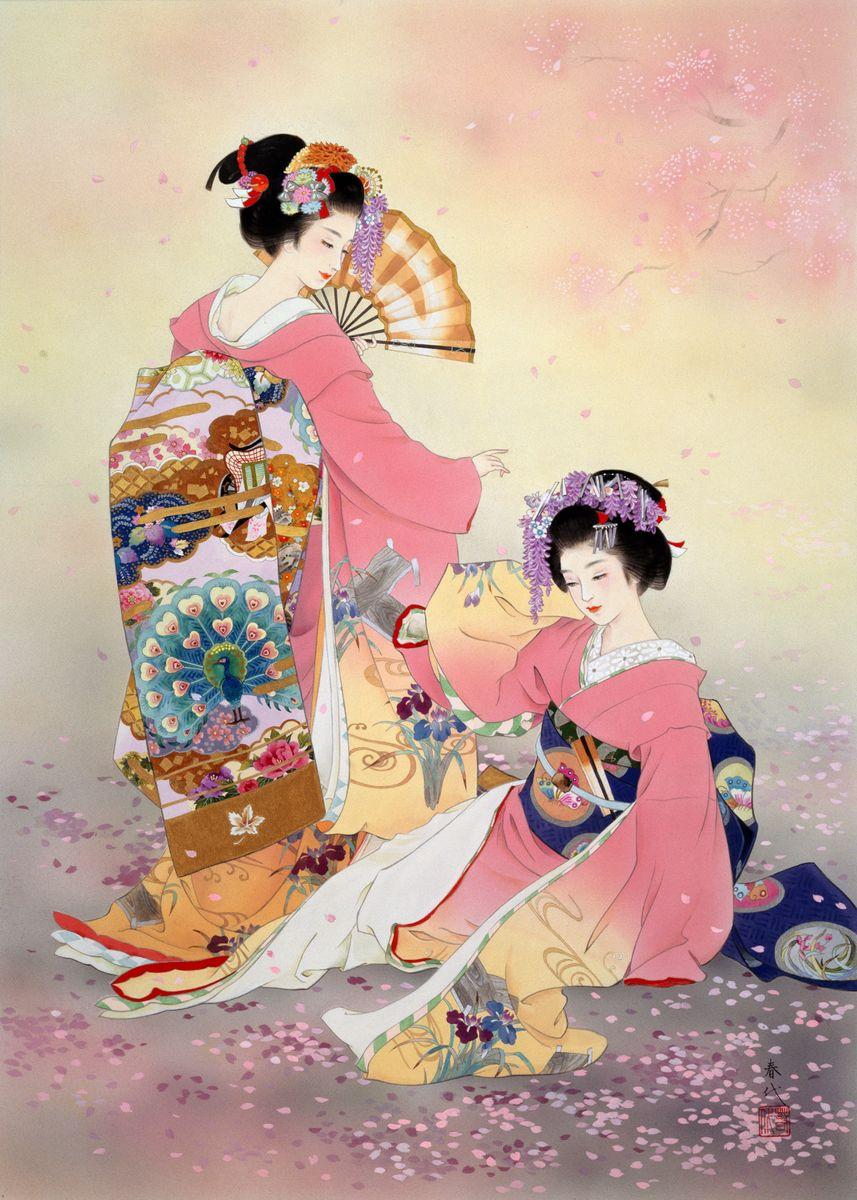 Two Geishas in pink kimonos