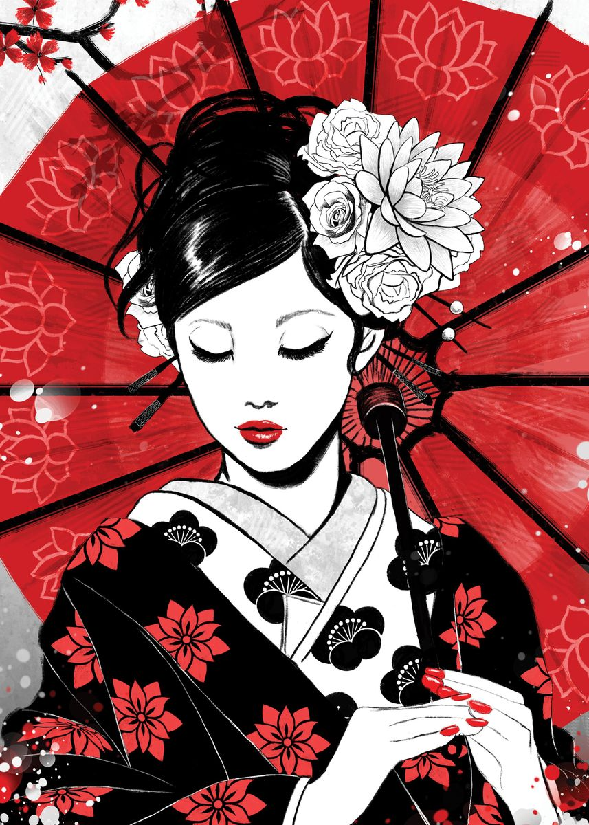 Geisha with white flower tucked behind her ear carrying red umbrella