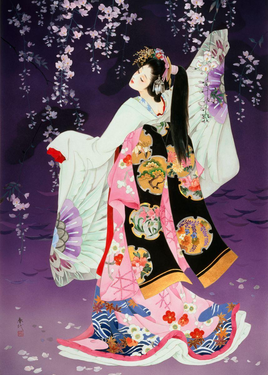Geisha displaying her colorful kimono
